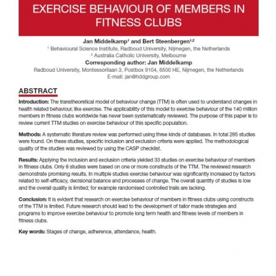 THE TRANSTHEORETICAL MODEL AND EXERCISE BEHAVIOUR OF MEMBERS IN FITNESS CLUBS: SYSTEMATIC REVIEW - 0