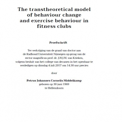 The transtheoretical model of behaviour change and exercise behaviour in fitness clubs - hardcover book - 1