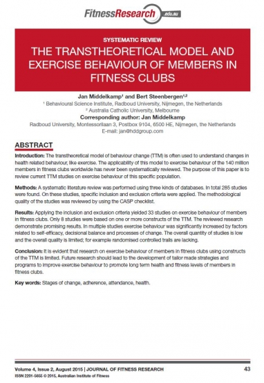 THE TRANSTHEORETICAL MODEL AND EXERCISE BEHAVIOUR OF MEMBERS IN FITNESS CLUBS: SYSTEMATIC REVIEW 0