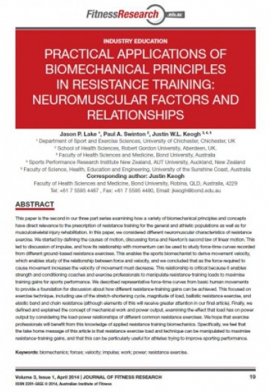 Practical Applications of Biomechanical Principles in Resistance Training 0