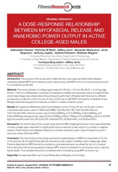 A dose-response relationship between myofascial release and anaerobic power output in active college -aged males 0